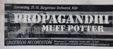 25.10.2001 – Propagandhi / Muff Potter – Köln, Bürgerhaus Stollwerck
